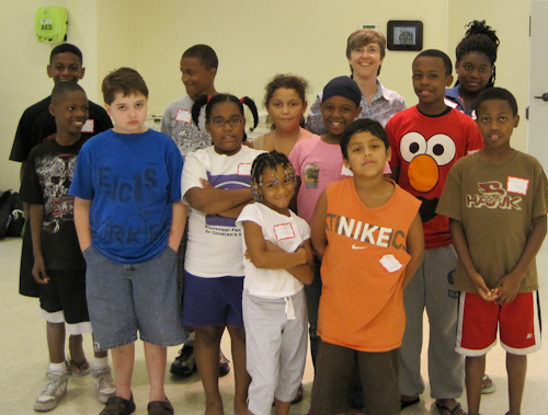 Sarah Campbell with Students Summer Camp