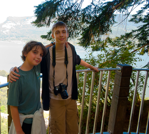 D and G at top of Multnomah Falls
