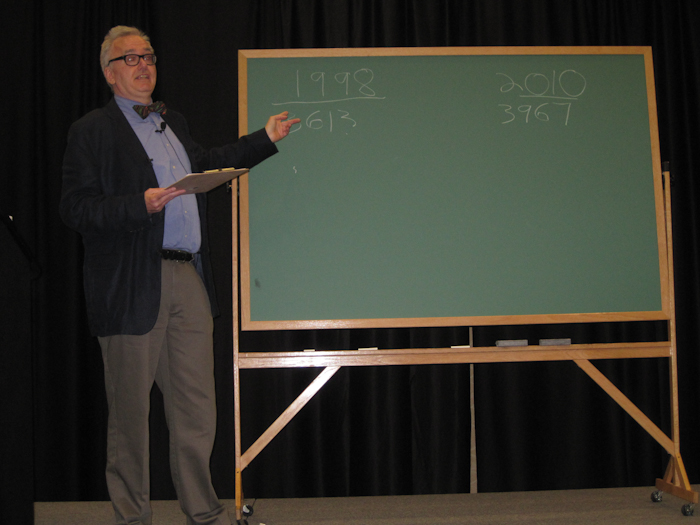 Roger Sutton at his chalk board