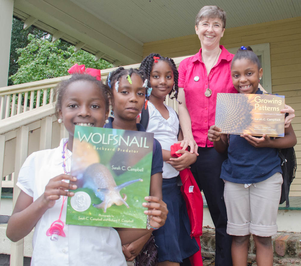 Sarah Campbell with Poindexter Park After School Club members